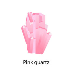 pink quartz mineral composed of silicon and oxygen vector image