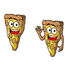 Pizza slice in cartoon style vector image