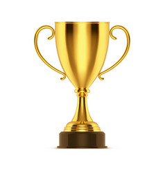 Realistic golden cup or 3d winner trophy bowl vector