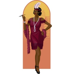 Retro character attractive afroamerican starlet vector image