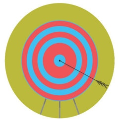 Right in bullseye arrow target icon flat vector