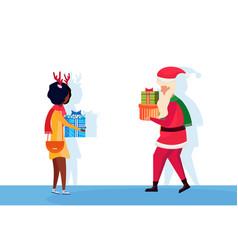 santa claus african woman giving present gift box vector image