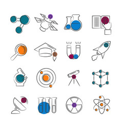 science line icons collection with colorful vector image
