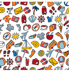 Seamless pattern with colorful cartoon travel vector
