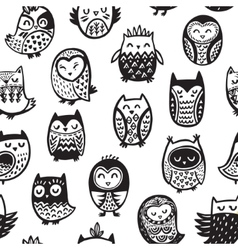 Seamless pattern with ink owls Tribal art vector