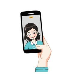 selfy girl vector image