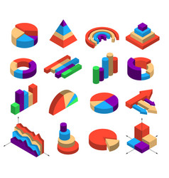 Set of sixteen isometric diagram elements vector