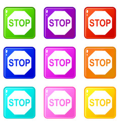 Stop sign icons 9 set vector