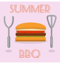 Summer BBQ burger with cutlery vector