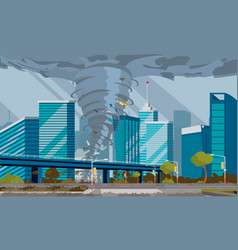 swirling tornado in city destroy buildings vector image