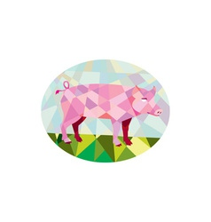 Tamworth Pig Side Oval Low Polygon vector image