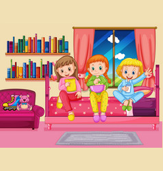Three girls eating snack in bedroom vector