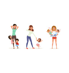tired mothers and their children set stressed vector image