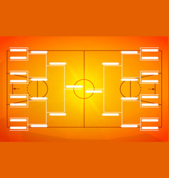 tournament bracket template for 16 teams on orange vector image
