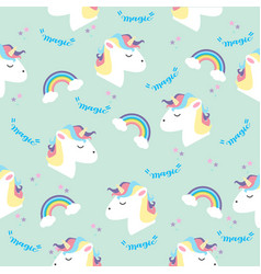 unicorn head with rainbows in color pastel pattern vector image