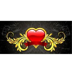 valentine gold emblem vector image
