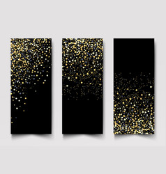vertical black and gold banners set greeting card vector image