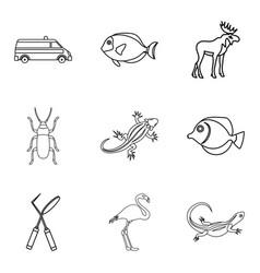 Vet healer icons set outline style vector