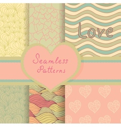 Vintage Valentine seamless patterns set vector
