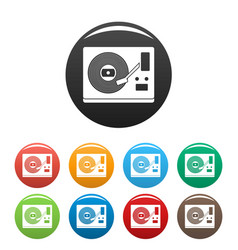 vinyl player icons set color vector image