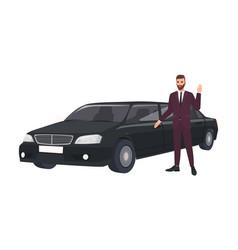 Wealthy man in elegant suit standing beside luxury vector