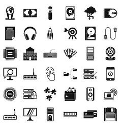Web extension icons set simple style vector