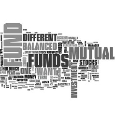 What is a balanced mutual fund text word cloud vector