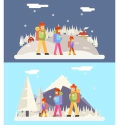 Winter Family Trip Concept Flat Design Icon vector
