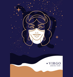 witchcraft card with astrology virgo zodiac sign vector image