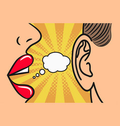woman lips whispering in mans ear speech bubble vector image