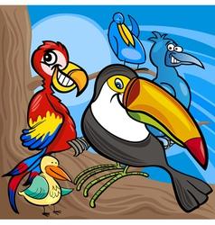cute birds group cartoon vector image