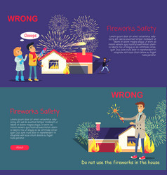 fireworks safety wrong usage of pyrotechnics vector image vector image