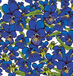 flowers of pansies and leaves seamless blue vector image