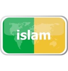 islam Flat web button icon World map earth icon vector image vector image