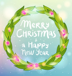 Merry Christmas and Happy New year wreath greeting vector image vector image