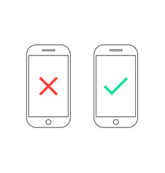 two smartphones with yes and no signs vector image