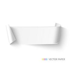 White paper curved ribbon banner with roll vector image