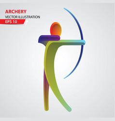 archery color sport icon vector image vector image