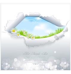 blue sky in torn paper vector image vector image