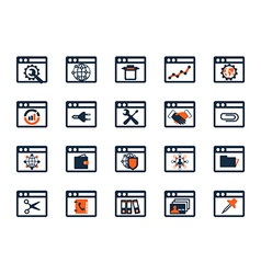 Business icon set Software web development finance vector image vector image