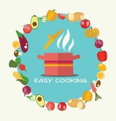 Cooking flat style background with pan vector image vector image