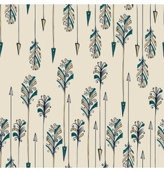 Feather arrow seamless pattern vector image vector image