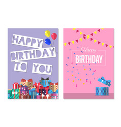 Happy birthday to you greeting card design set vector