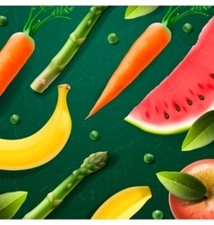 Natural fruit and vegetabels products vector image vector image