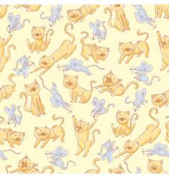 seamless cats and mice pattern vector image vector image