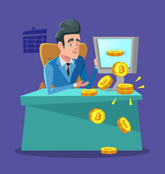 successful businessman mining bitcoin on computer vector image
