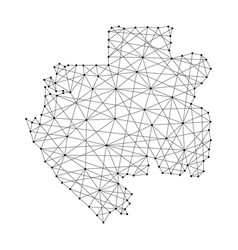 map of gabon from polygonal black lines and dots vector image vector image