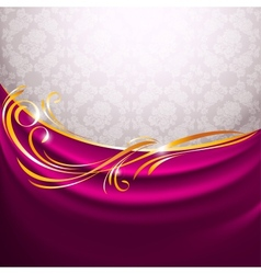Pink fabric curtain gold vignette vector image vector image
