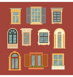 Set of Vintage Windows in flat style vector image vector image