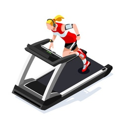 Treadmill Gym Class Working Out 3D Isometric Image vector image vector image